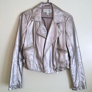 Silver Motorcycle Jacket Silver Faux Leather
